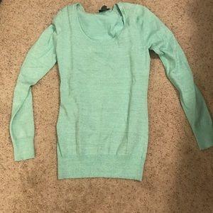 glittery teal long sleeve sweater